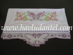Kelebekli Havlu Kenarları   HavluDantel.com